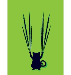 Black Cat Silhouette with Scratches6 vector image vector image