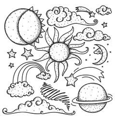 celestial elements doodle vector image vector image