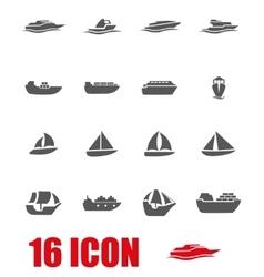 grey ship and boat icon set vector image vector image