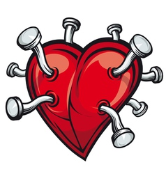 retro heart with bent nails vector image vector image