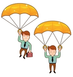 Smiling man fall on a golden parachute with vector image vector image