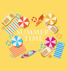 summer time beach elements umbrellas shelves vector image