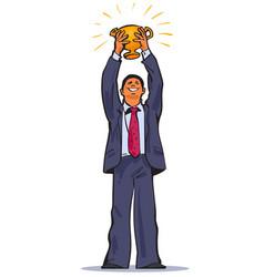 the winner businessman holding up winning trophy vector image