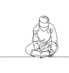 boy in fez reading koran vector image vector image