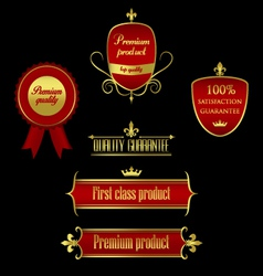 Collection of golden-red labels - product quality vector image vector image
