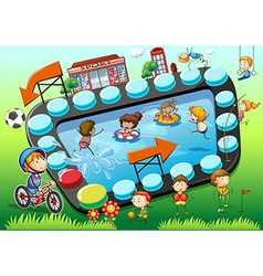 Game template with children and sports background vector image vector image