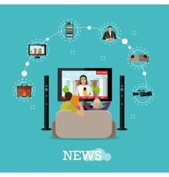 People at home watching city news on tv Concept vector image vector image