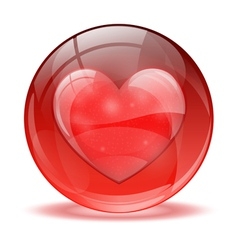 3d glass sphere heart icon vector image