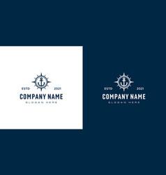 anchor and compass logo design vector image