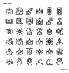 Android robot outline icons perfect pixel vector