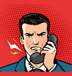 angry man talking on phone business concept vector image
