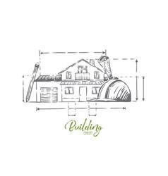 Architect profession attributes cottage plan vector