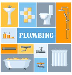 Bathroom interior plumbing background vector
