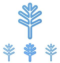 Blue line tree logo design set vector