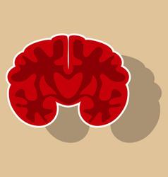 Brain in sticker monochrome color on white vector