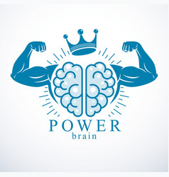 Brain with strong bicep hands of bodybuilder vector