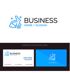 bunny rabbit easter nature blue business logo and vector image