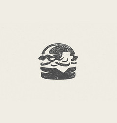 burger silhouette as logo fast food service hand vector image