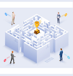 businessman standing at labyrinth vector image