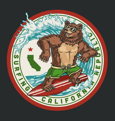 California surfing round vintage label vector