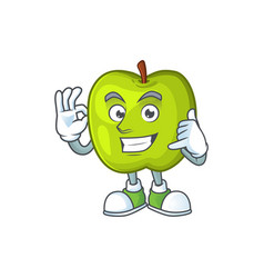 Call me granny smith apple character for health vector