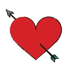 cartoon red heart with arrow love symbol vector image