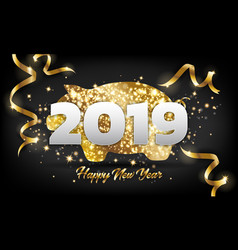 chinese happy new year 2019 golden pig greeting vector image