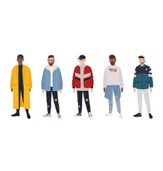 Collection of young men dressed in fashionable vector