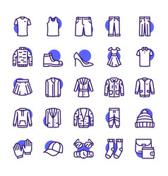 color linear icon set clothing wardrobe vector image
