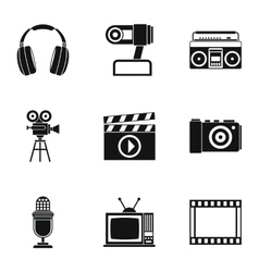Communication device icons set simple style vector