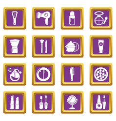 Cosmetics icons set purple square vector
