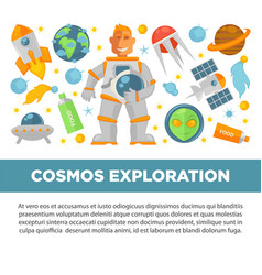 cosmos exploration promotional poster vector image