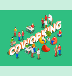 Coworking space isometric background vector