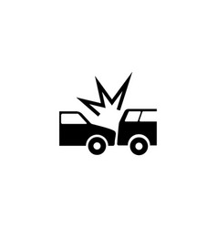 Crashed cars flat icon vector