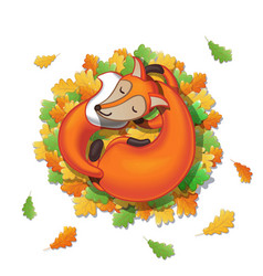 cute cartoon fox sleeps on oak leaves good night vector image