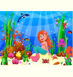 cute joyful little mermaid in underwater world vector image