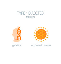 Diabetes type 1 causes in flat style vector
