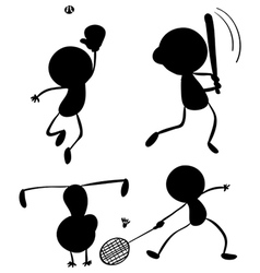 different silhouettes sports vector image