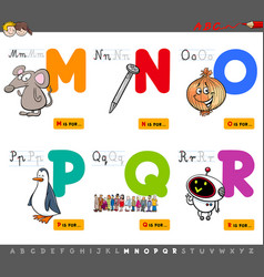 educational cartoon alphabet letters set vector image