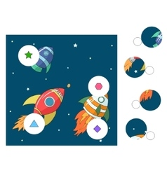 Educational game match the parts of picture vector