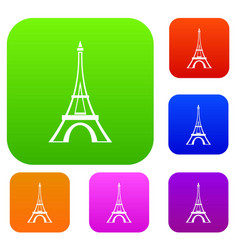 eiffel tower set collection vector image