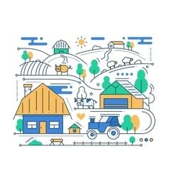 Farm - line design composition vector