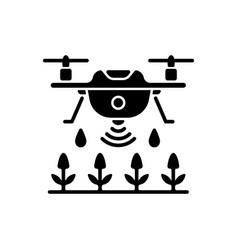 Farming drones black glyph icon vector