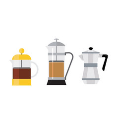 flat set of 3 different coffee makers vector image