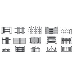 Garden fence icons set outline style vector