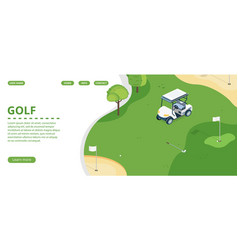 Golf club landing page or banner template vector