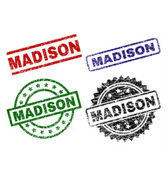 Grunge textured madison seal stamps vector