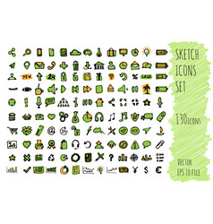Hand draw doodle business icon set collection of vector