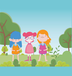 Happy childrens day cheerful group little girls in vector