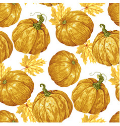 harvest season pumpkin seamless pattern vector image